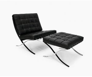 Scaun Ambassador Black Chair & Otoman