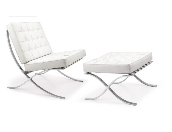 Scaun Ambassador White Chair & Otoman